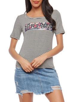 Dream Graphic Striped T Shirt - 1402061354577