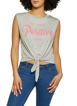 Positive Vibes Tie Front Top - 1402061357221