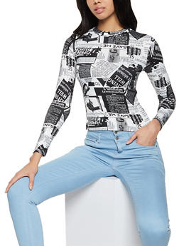 Newspaper Print Soft Knit Top - 1402061358097