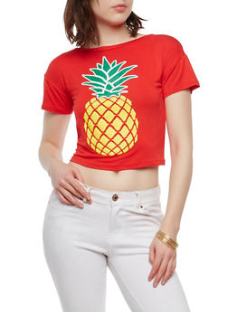 Pineapple Graphic Tie Back Top - 1402061359412