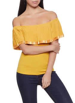 Pleated Off the Shoulder Crepe Knit Top - 1402062702403