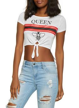 Queen Tie Front High Low Tee - 1402062702594