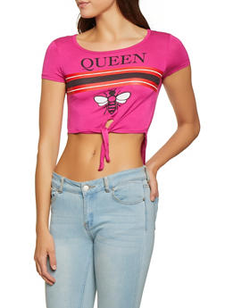 Queen Tie Front High Low Tee - 1402062702594