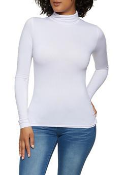 Solid Soft Knit Turtleneck Top - 1402062702783