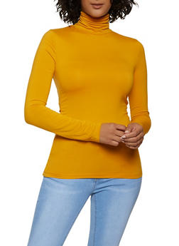 Solid Soft Knit Turtleneck Top - 1402062702783