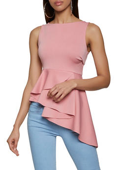 Asymmetrical Peplum Top - 1402062703169