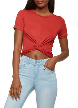 Soft Knit Twist Front Crop Top - 1402066490761