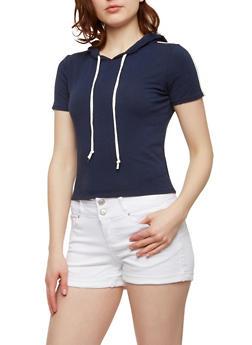 Short Sleeve Varsity Stripe Hooded Top - 1402066491216