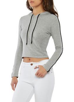 Striped Sleeve Hooded Sweatshirt - 1402066491217