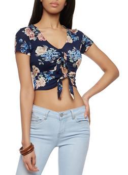 Floral Double Tie Front Crop Top - 1402066491842