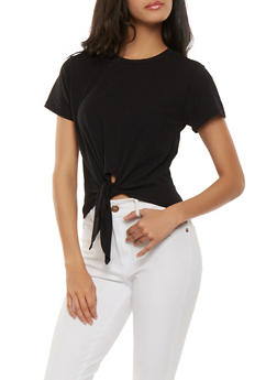 Solid Tie Front Cropped Tee - 1402066491860