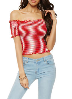 Off the Shoulder Striped Lettuce Trim Top - 1402066491927