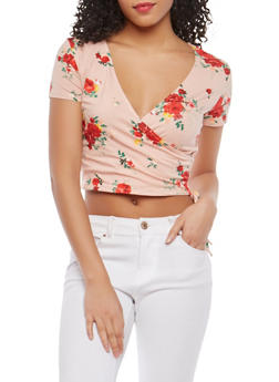 Floral Faux Wrap Crop Top - 1402066491963