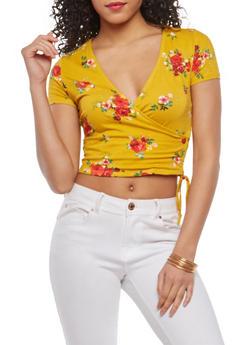 Floral Faux Wrap Crop Top - 1402066491963