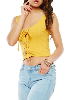 Lace Up Cropped Tank Top - 1402066492243