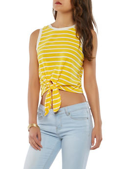 Striped Tie Front Tank Top - 1402066492308