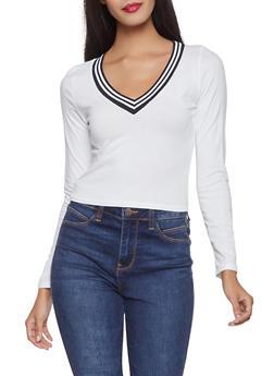 Striped Rib Knit Trim Top - 1402066492561