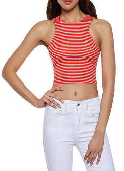 Sleeveless Striped Crop Top - 1402066493205