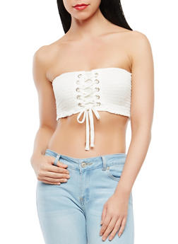 Lace Up Smocked Bandeau Top - 1402066493226