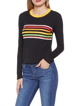Multi Color Stripe Detail Tee - 1402066493361