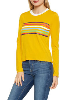 Multi Color Stripe Detail Tee - 1402066493361