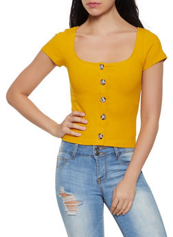 Ribbed Knit Button Front Top - 1402066493448