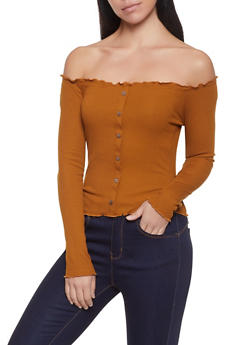 Lettuce Edge Off the Shoulder Top - 1402066494071