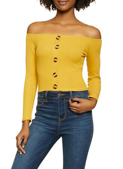 Ribbed Knit Off the Shoulder Top - 1402066494116