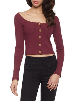 Button Detail Rib Knit Top - 1402066494227