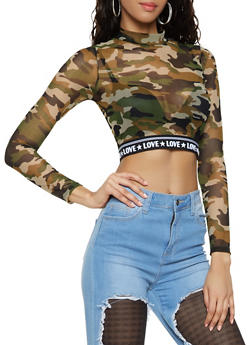 Printed Love Graphic Mesh Crop Top - 1402066494381