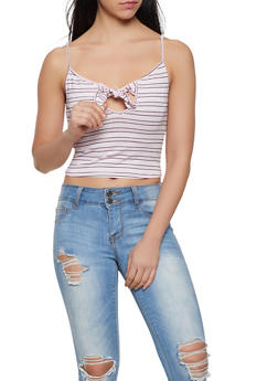 Striped Tie Front Cropped Cami - 1402066494498