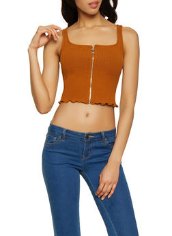 Cropped Zip Front Tank Top - 1402066494724