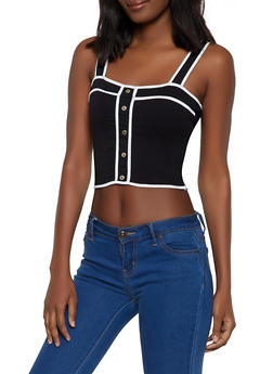 Contrast Button Trim Cropped Tank Top - 1402066495332