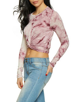 Tie Dye Twist Front Top - 1402066496113