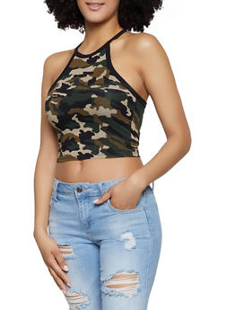 Cropped Printed Tank Top - OLIVE - 1402066496450