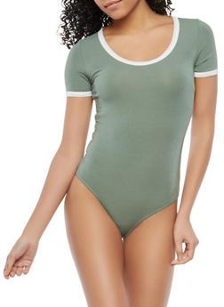Contrast Trim Bodysuit - 1402066499317