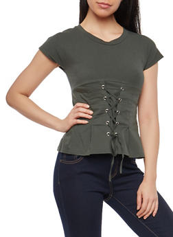 Lace Up Front T Shirt - 1402068191905