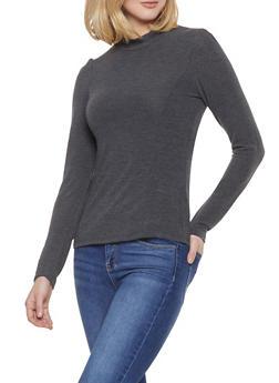 Long Sleeve Mock Neck Top - 1402068192167