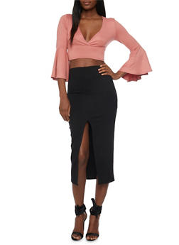 Plunging V Neck Crop Top with Bell Sleeves - 1402068515139