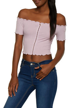 Ribbed Lettuce Edge Off the Shoulder Crop Top - 1402069390022