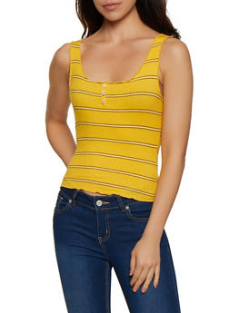 Lettuce Edge Striped Tank Top - 1402069390048
