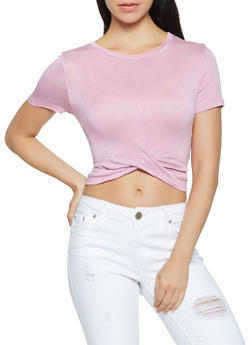 Twist Front Crop Top - 1402069390140