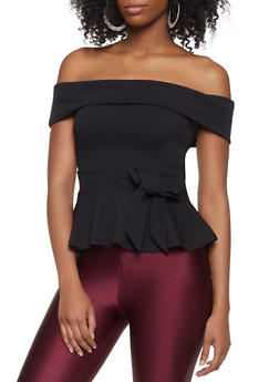 Off the Shoulder Peplum Top - Black - Size S - 1402069390380