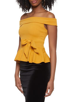 Off the Shoulder Peplum Top - 1402069390380