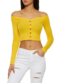 Rib Knit Off the Shoulder Crop Top - 1402069390474