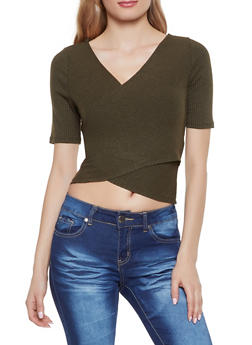 Rib Knit Faux Wrap Crop Top - 1402069390491