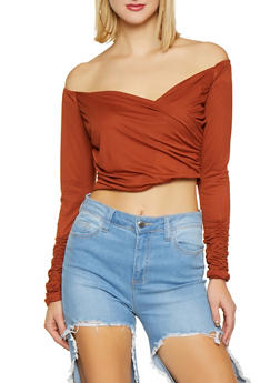 Off the Shoulder Faux Wrap Crop Top - 1402069390520