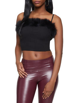 Faux Fur Trim Crop Top - 1402069390677