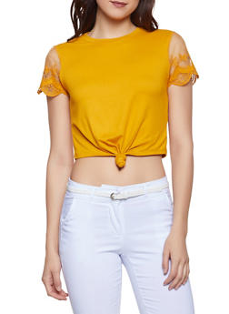 Mesh Sleeve Knot Front Tee - 1402069390756