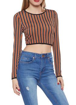 Striped Long Sleeve Crop Top - 1402069390797